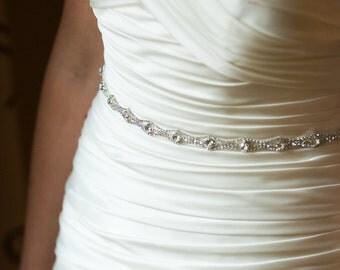 Bridal Sash, Rhinestone Sash, Wedding Dress Sash, Crystal Belt, Embellishment, Applique Thin Trim