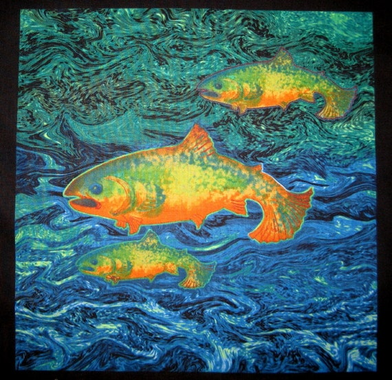 Fish fabric art quilt block 11 by tuesdayrose on etsy for Fish fabric for quilting