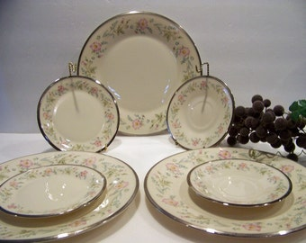 Vintage Lenox China Flirtation Pattern Dinner Plate Bread Plate Saucer Replacement Set