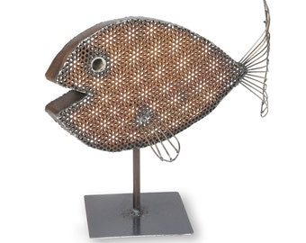 Metal Sculpture Fish Tabletop Art Tabletop Fish Art