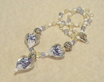 Blue Yellow & White Lampwork Hearts Necklace