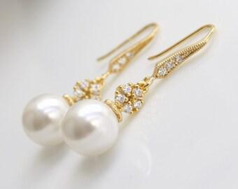Gold Bridal Earrings Pearl Jewelry Pearl Earrings Cubic Zirconia Flower Dangle Earrings Gold White Swarovski Pearl Wedding Jewelry