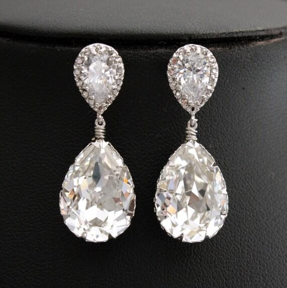 Wedding Earrings Bridal Earrings with Clear Swarovski Teardrop on Cubic Zirconia Silver Posts Bridesmaid Earrings