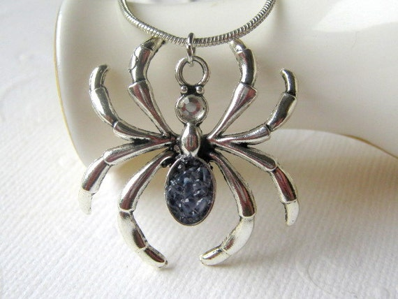 Custom Spider Necklace, Witch Costume, Silver Bug Jewelry, Big Tarantula Pendant, Purple Glass Spider, Arachnid Choker