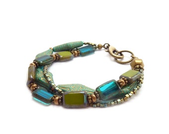 Bohemian Multistrand Bracelet - Turquoise, Teal & Avocado - Vintage Inspired Acrylic Beads - Seed Beads - Boho Jewelry