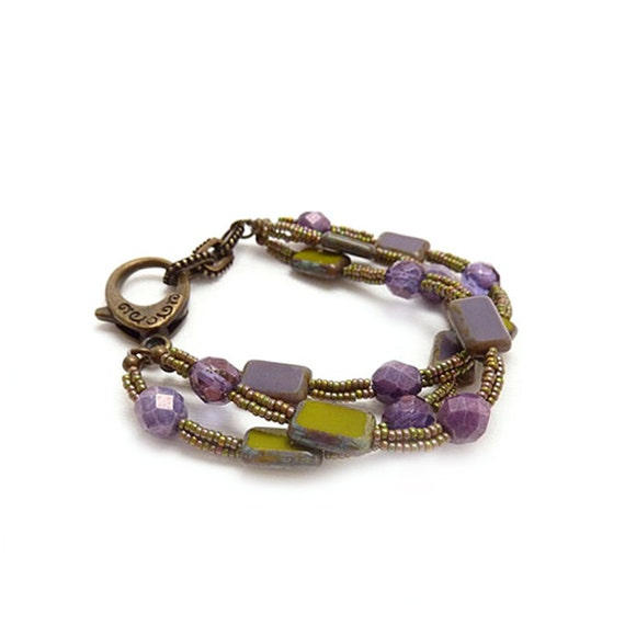 Purple Glass Multistrand Bracelet -  Picasso Rectangle Glass - Green - Seed Beads - Antiqued Bronze - Boho Chic