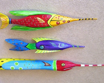 Tropical Fish Carved from Queen Palm Seed Pod  SALE was 50 now 45 Over 3 FT Long Light Blue with Red Head