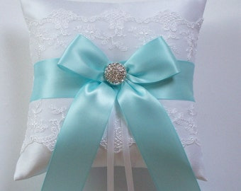 Wedding Ring Pillow, Robin Egg Blue Ribbon Pillow, with Net Lace, Rhinestone Centered Satin Bow - The ROBYN Pillow