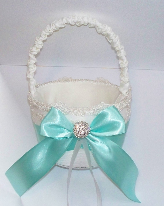 Wedding Flower Girl Basket With Aqua Blue Bow And Rhinestone Center