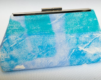 Clutch Handbag in Purple, Green and Blue, Screenprinted Fabric, Day Time or Special Occasion Purse