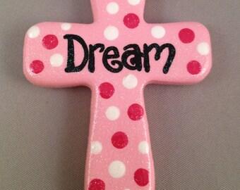 Dream - Pink Polka Dot Cross Magnet