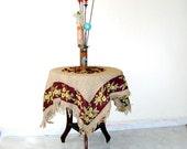 Rustic Burlap Tablecloth, country farmhouse decor  tan and brown  floral fabric natural burlap
