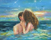 Salty Kisses Art Print couple kissing in water, aqua, ocean, beach decor, kissing, teal wall art sexy skinny dipping images teal, art