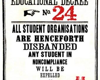Educational Decree Wizarding Proclamation 24 (Student Organisations) printable .pdf file