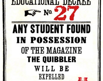 Educational Decree Wizarding Proclamation 27 (Quibbler) printable .pdf file