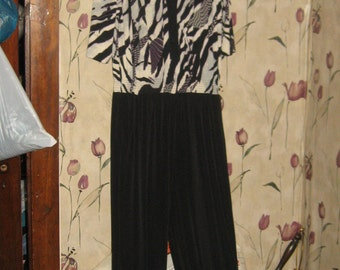 vintage 80s womens 2 tone long  wide leg jumpsuit  ROMPER  size xlarge