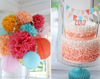 Pink Aqua and Peach Fabric Bunting Cake Topper Decoration / Lovely Vintage Garden Wedding