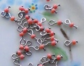 N1150j Vintage Glass Beads Drops Dangles Doll buttons -8 Tiny Mini 2mm Charm Charms Peach Coral