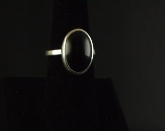 Sterling Silver and Black  Onyx  Ring Size 7 1/4