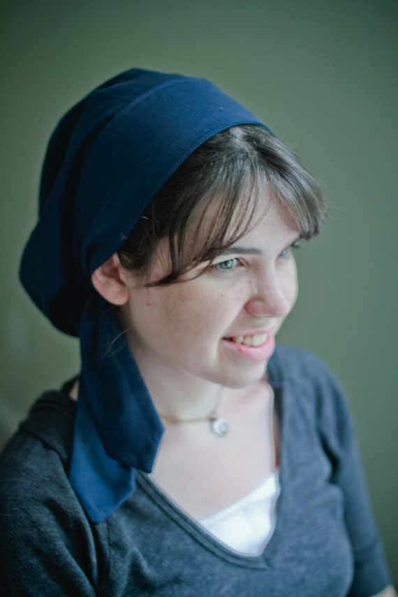 Sale 30% Off --   Solid Blue Snood -   Snood  Headcovering Head Cover Tichel   LAST ONE AVAILABLE!!