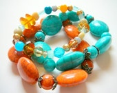 set of 3 beaded stretch bracelets. Fall jewelry, orange and turquoise, gifts for her under 15