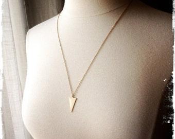 ISOSCELES NECKLACE - vintage brass - long chain - layering necklace