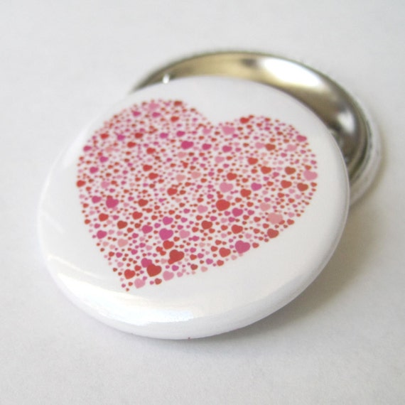 Heart made up of Hearts 1 1/2 inches (38mm) Photo Pinback  Button or Magnet