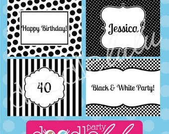 INSTANT DOWNLOAD Editable PDF Black & White Party Signs - 4 Designs from Doodlelulu by 2 june bugs