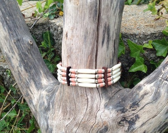 Bone hair pipe choker, Cheyenne rose pink, glass trade beads, American Indian style, Nativer American inspired traditional pow wow regalia