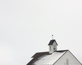 Modern Minimal Landscape Barn Roof in the snow