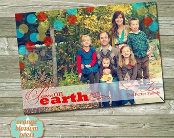 Photo Christmas Card, Peace on Earth, Colorful Dots, Religious Christmas Card, Full Photo Holiday Card