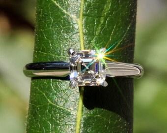 CERTIFIED Asscher Cut Solitaire - 3/4th carat - Diamond Engagement Ring 14K White Gold - engagement - Bps01