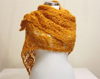 CLEARANCE! Mustard Shawl / Mustard Crochet Shawl / Wrap Shawl