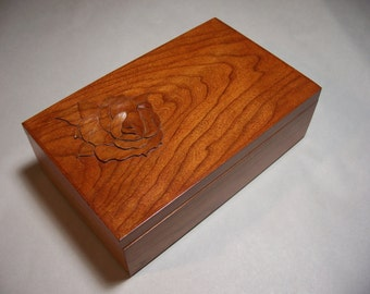 Jewelry Box, Treasure Box, Raised Rose Inlay, Custom Order