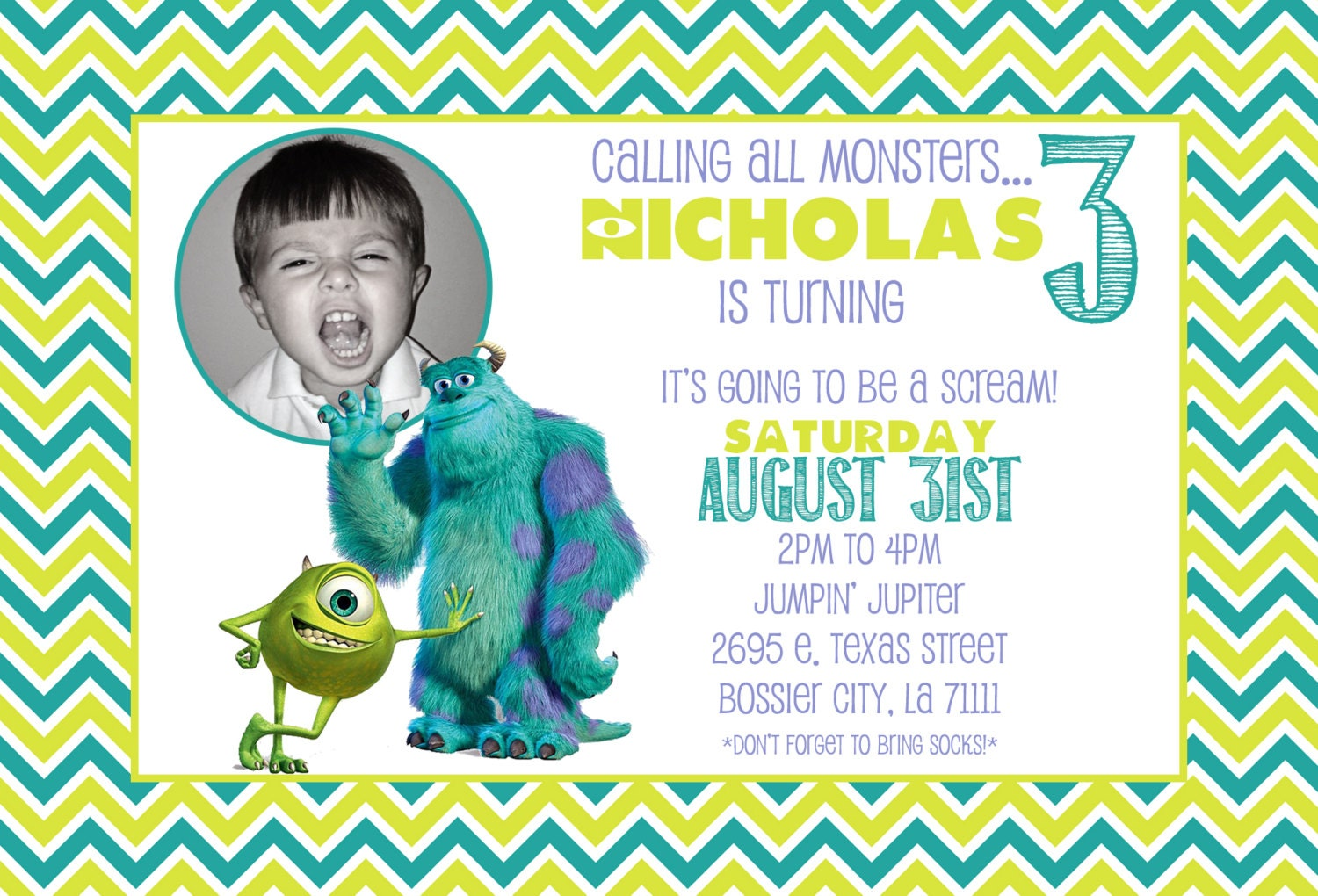 Customized Birthday Invitation Monsters Inc Monsters
