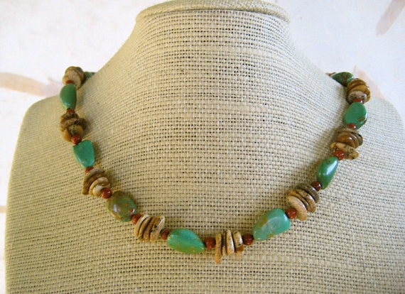 Green Turquoise Nugget Necklace with Rustic Picture Jasper Flat Pebbles and Rust Red Jasper Natural Stone Jewelry