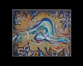 lotus pose yoga artwork 8x10 calm andnoellerollinsart
