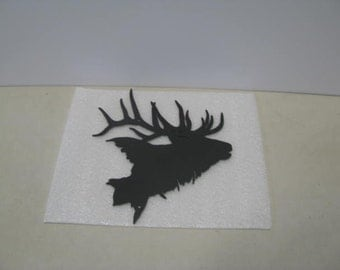 Elk Head 002 Wildlife Metal Art Silhouette