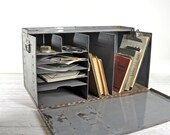 r e s e r v e d ... Vintage Industrial Metal Office File Box / Industrial Office