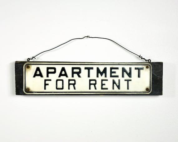 vintage metal sign apartment for rent by havenvintage on etsy. Black Bedroom Furniture Sets. Home Design Ideas