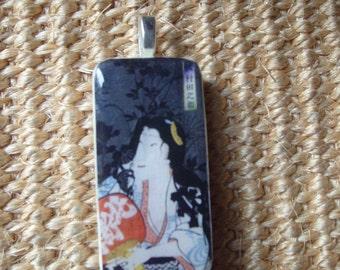 Vintage Geisha. Japanese  Domino pendant.  SALE