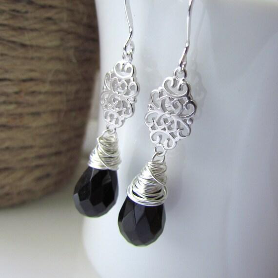 Black Stone Earrings: Black Onyx Earrings Black Stone Earrings By TheJewelryChateau