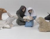 "North Carolina Made Nativity With Lying Creatures 5 1/2"""