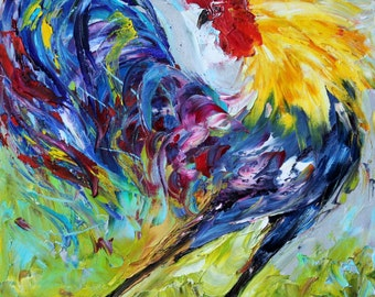 Mr. Fancy Pants Rooster Museum Archival canvas print on canvas made from image of Original painting by Karen Tarlton