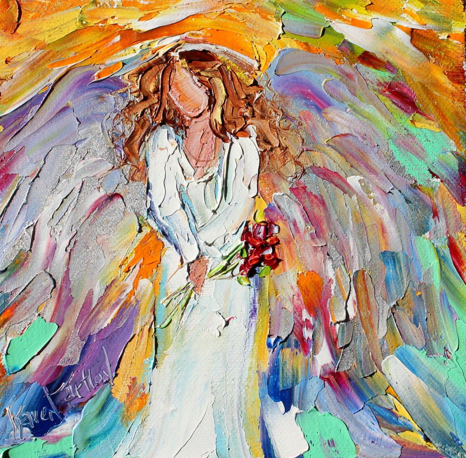 Original Oil Painting Little Angel With Flowers Palette Knife