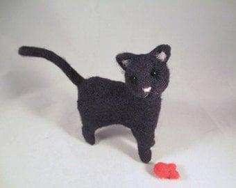 Needle Felted Cat, Needle Felted Animal, Black Cat, Cat Art, Cat Gift, Felted Wool Cat, Felt Animals, Felted Animals, Needle Felt, Wool Cat