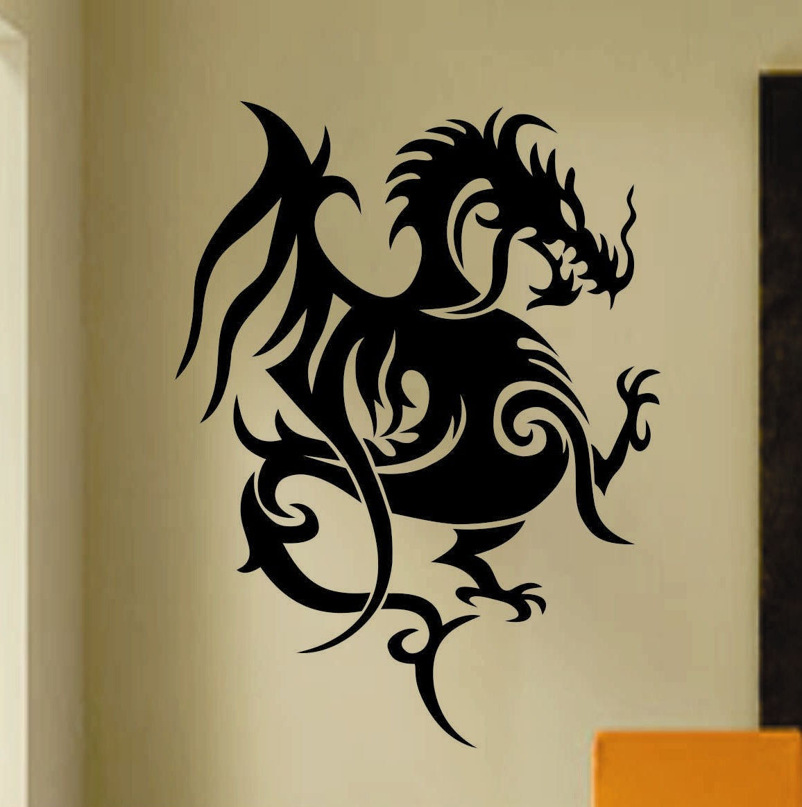 Tribal Oriental Dragon Decal Vinyl Wall Lettering Vinyl Wall - Custom vinyl wall decals dragon