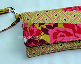 Choose Any Fabric In My Shop or Pink Yellow Wine Wallet Cell Phone Case Wristlet Credit Cards Zipper