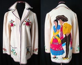 "Killer  Rare 1940's Hand Applique Cream Mexican Tourist Jacket made by ""Berty Creations"" Vintage Western Jacket Mexicana"