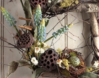 Spring Muscari Window - Spring Wreath - Easter Wreath - Birch Window - Nest